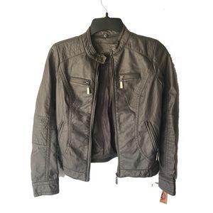 J2 Junior Vegan Leather Jacket Zip Pocket Charcoal